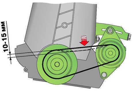 Проверка натяжения ремня привода генератора и его замена ВАЗ 2110
