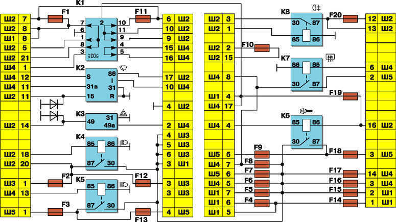 Дополнительные предохранители и реле (система впрыска топлива) ВАЗ 2110