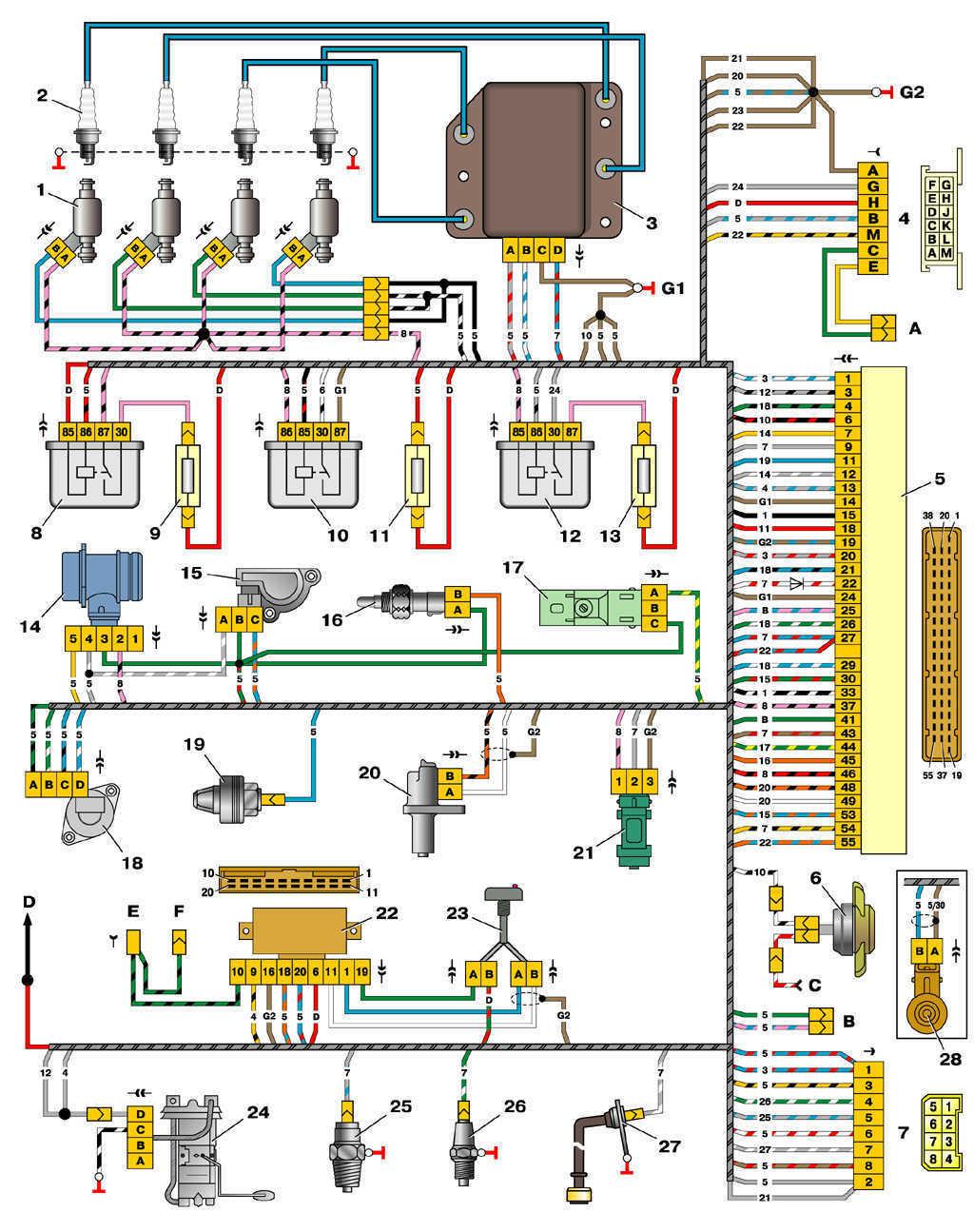 Схема управления двигателем 2111 (конт.М1.5.4) ВАЗ 2110