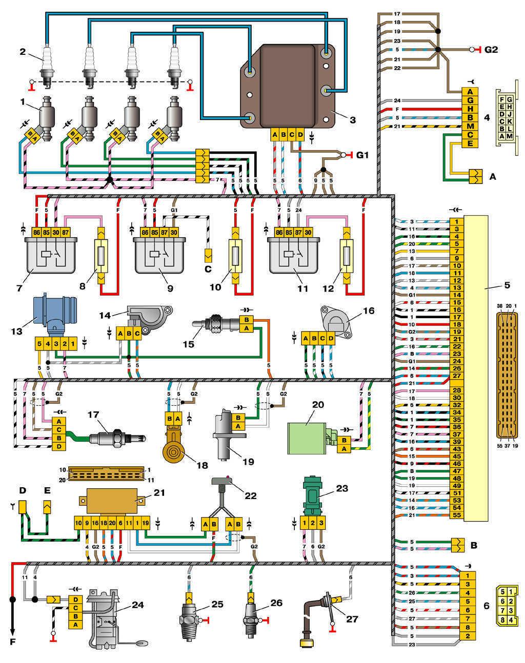 Схема управления двигателем 2111 (конт. МР7.0) ВАЗ 2110