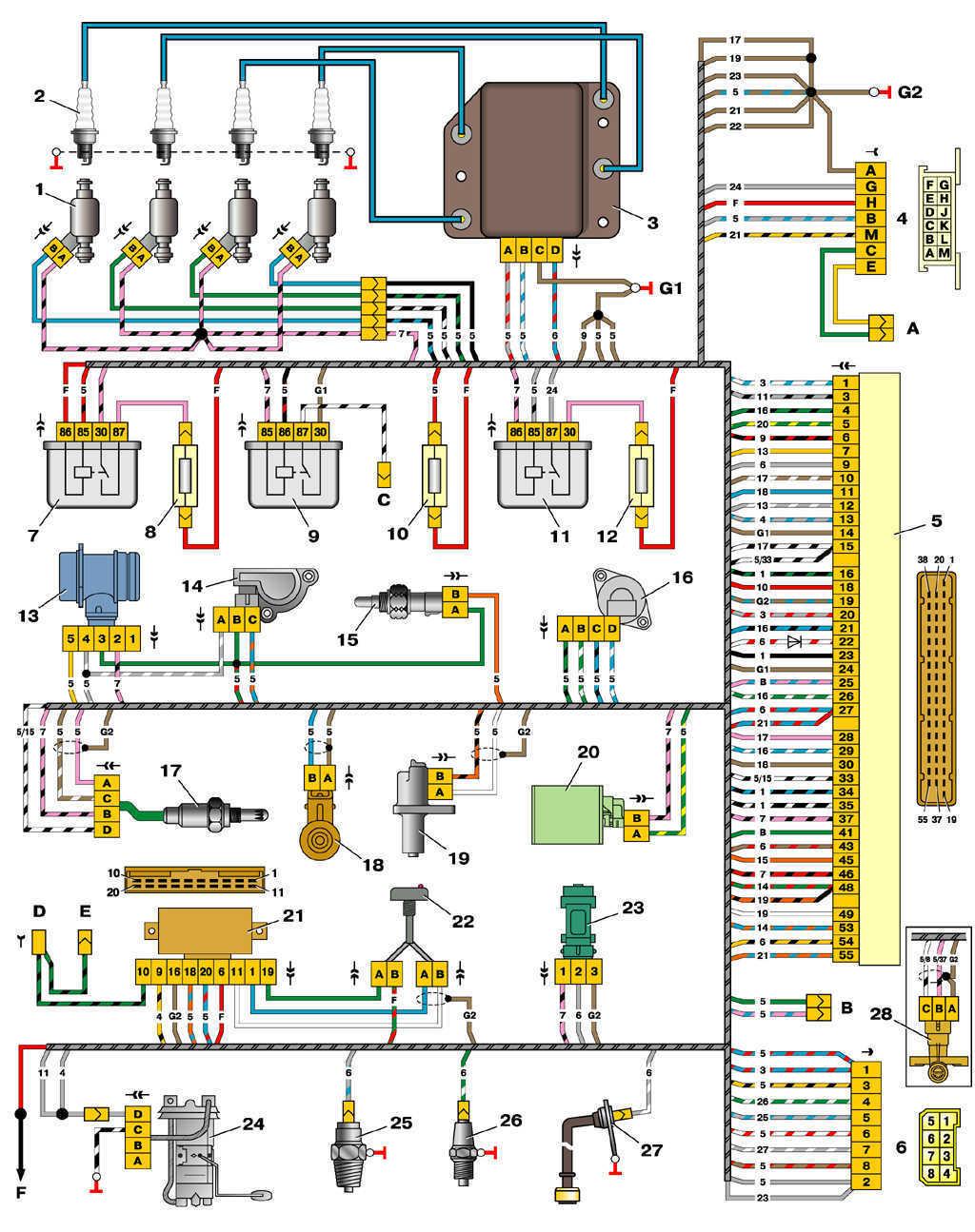 Схема управления двигателями 2111 и 2112 (конт. М1.5.4N, «Январь-5.1») ВАЗ 2110