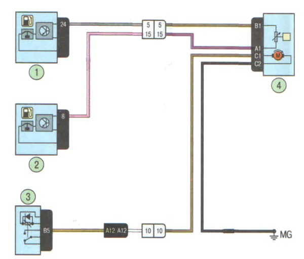 Схема подключения топливного насоса Лада Ларгус и датчика уровня топлива.